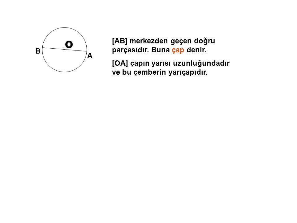 O [AB] merkezden geçen doğru parçasıdır. Buna çap denir.